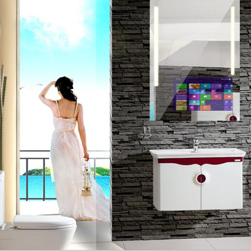 touch screen smart mirror in bathroom 1